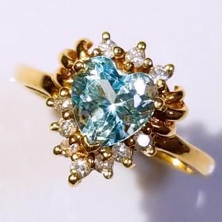 K18 ブルートパーズ 0.99ct ダイヤ 0.13ct ハート リング(リング(指輪))