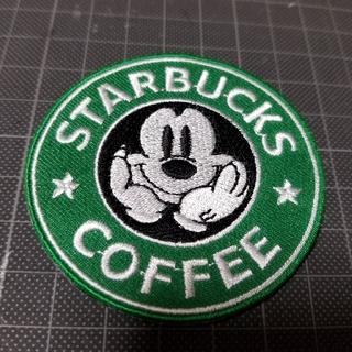 スターバックスコーヒー(Starbucks Coffee)の新品未使用『STARBUCKS COFFEEミッキー・アイロン刺繍ワッペン』(各種パーツ)