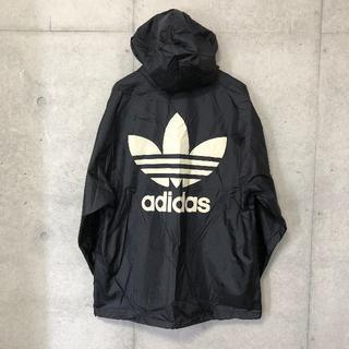 アディダス(adidas)のアディダス ビッグ ロゴ ナイロン パーカー ジャケット XL ブラック(ナイロンジャケット)
