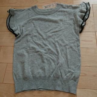 シマムラ(しまむら)の新品タグ付き☆しまむら購入☆袖フリルニットMサイズ(シャツ/ブラウス(半袖/袖なし))