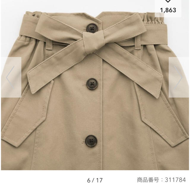 GU(ジーユー)のGU♡トレンチスカート120㎝ キッズ/ベビー/マタニティのキッズ服 女の子用(90cm~)(スカート)の商品写真