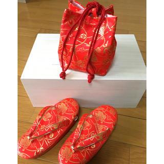 【uoi様専用】七五三 3歳用 草履 巾着セット 赤(下駄/草履)
