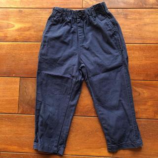 ジーユー(GU)のGU クロップドパンツ 120cm ベージュ紺 2枚セット(パンツ/スパッツ)