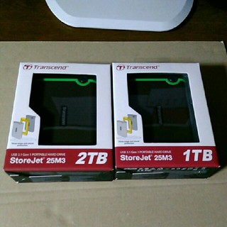 【新品】Transcend ポータブルHDD 1TB + 2TB 2台セット