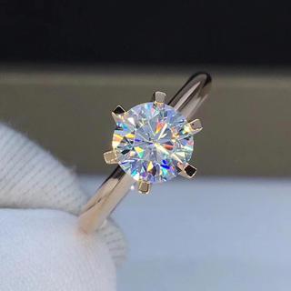 【1カラット 】輝くモアサナイト ダイヤモンド リング(リング(指輪))