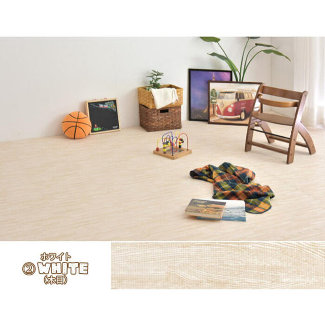 60cm 32枚 6畳 木目調 単色 大判 ジョイントマット キッズ/ベビー/マタニティの寝具/家具(フロアマット)の商品写真