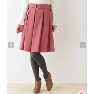 クチュールブローチ(Couture Brooch)のベルト付きタックスカート クチュールブローチ(ひざ丈スカート)