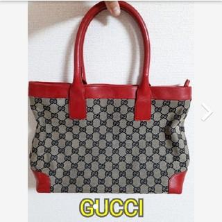 グッチ(Gucci)の★正規品★GUCCI グッチ トートバッグ キャンバス×レザー グレー&レッド(トートバッグ)