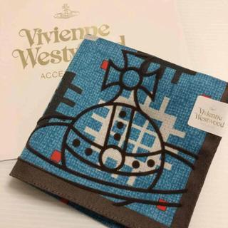 ヴィヴィアンウエストウッド(Vivienne Westwood)の新品⭐️ ヴィヴィアン ウエストウッド 大判 ハンカチ オーブ ブルー系 (ハンカチ/ポケットチーフ)