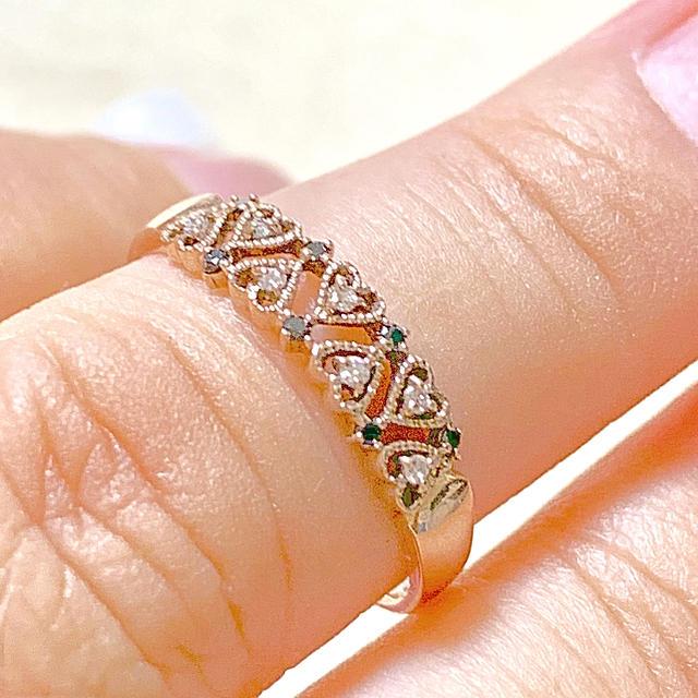 レナバァバ様専用❣️k10 ダイヤ ブラックダイヤ リング  レディースのアクセサリー(リング(指輪))の商品写真