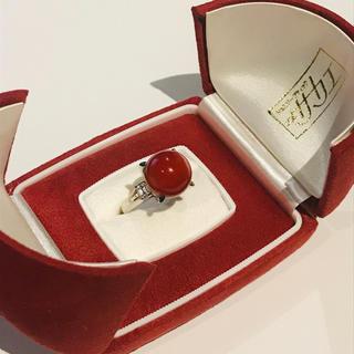 Pt900 血赤珊瑚 14mm玉 ダイヤモンド D.0.48ct リング 指輪(リング(指輪))