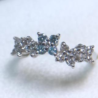 K18WG ブルーダイヤモンド ダイヤ 0.46ct リング 指輪 花 フラワー(リング(指輪))