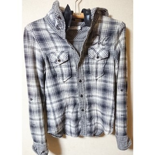 バッファローボブス(BUFFALO BOBS)のバッファローボブズ ドーナツ&コーヒー 黒チェックフードシャツ メンズ 1 S(シャツ)