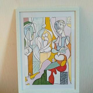 ピカソ 模写作品 赤い肘掛け椅子の裸婦 実物大(絵画/タペストリー)