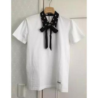 ミュウミュウ(miumiu)のミュウミュウ♡リボン付♡ネコ襟トップス(カットソー(半袖/袖なし))