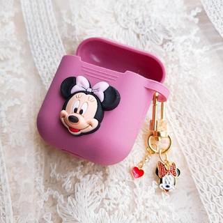 ディズニー(Disney)のAirPods ケース エアーポッズ カバー ミニー キーリング(ヘッドフォン/イヤフォン)