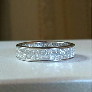 pt900 プリンセスカット メレ ダイヤモンド フルエタニティー リング(リング(指輪))