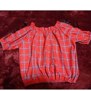 シマムラ(しまむら)の試着のみ「リボン付チェック柄トップスL」夏物(カットソー(半袖/袖なし))
