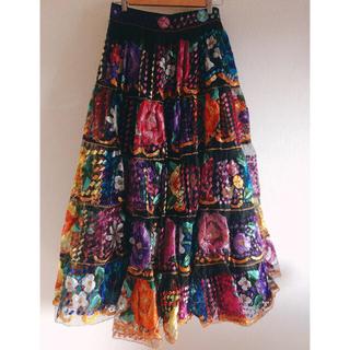 デプト(DEPT)のmexican embroidered skirt(ロングスカート)