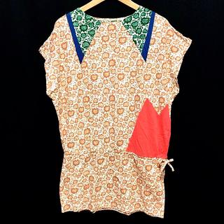 ツモリチサト(TSUMORI CHISATO)のツモリチサト ワンピース チュニック Tシャツ トップス 花柄 ヒマワリネコ 柄(ミニワンピース)