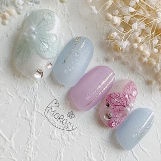 MOROSY143☆紫陽花 マット 雨 梅雨 浴衣 和装 ブライダル ネイル