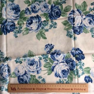 ジェーンマープル(JaneMarple)のジェーンマープル オリジナルローズ柄 カットクロス 巾約109×110 ブルー系(生地/糸)