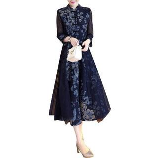 花柄 綿のチャイナドレス ワンピース Lサイズ♪(その他ドレス)