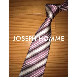 ジョゼフ(JOSEPH)の新古品 ジョセフオム パープル×オフホワイトストライプ(ネクタイ)