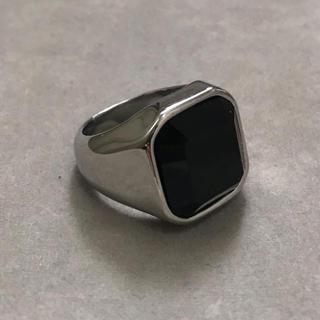 STAINLESS STEEL製 ブラックオニキスカレッジリング  シルバー  (リング(指輪))