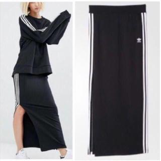 アディダス(adidas)のadidas originals 3STRIPE LONG SKIRT 黒白 M(ロングスカート)