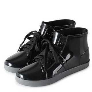 大人かわいい レディース レインシューズ ブーツ レースアップ 黒 24 長靴(レインブーツ/長靴)