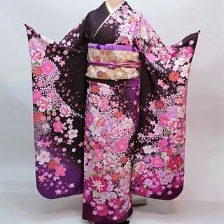 振袖 正絹 新品 着物単品 仕立て上がり 紫色 ラメ入り NO30215(振袖)