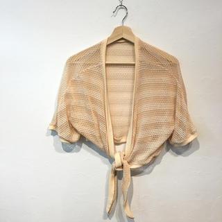 前縛りタイプ 半袖 透かし編み ショートカーディガン(カーディガン)