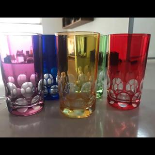 トウヨウササキガラス(東洋佐々木ガラス)のアンティークグラス5客カラフルだよ〜(食器)
