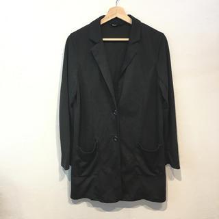 無地  綿 ロングジャケット ブラック(テーラードジャケット)