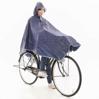 レインコート ポンチョ 自転車用 レディース 水玉 ネイビー(レインコート)