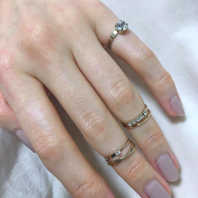 PAPILLONNER(パピヨネ)の美品 ファランジ ピンキー リング セット シルバー ゴールド スワロ  レディースのアクセサリー(リング(指輪))の商品写真