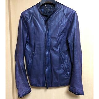 シシ(sisi)のBEAMS取扱sisiiシシ同色ステッチ定番レザーシングルライダース紺サイズS(ライダースジャケット)