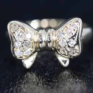 K18 リボン デザイン ダイヤモンド ピンキー リング(リング(指輪))