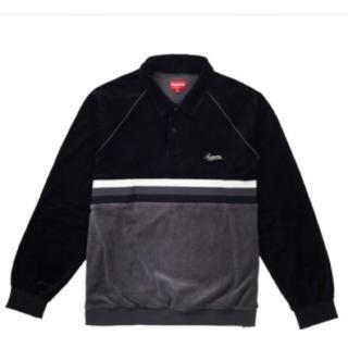 シュプリーム(Supreme)のsupreme Stripe velour raglan L&S Polo(ポロシャツ)