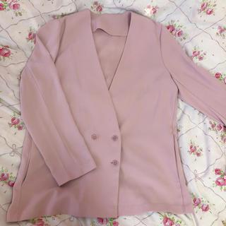 ジーユー(GU)のピンク 薄手ジャケット(ノーカラージャケット)
