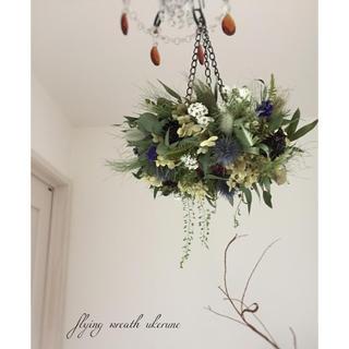 スカビオサと若草色のラグラス 春を感じる鳥の巣 フライングリース ドライフラワー(ドライフラワー)
