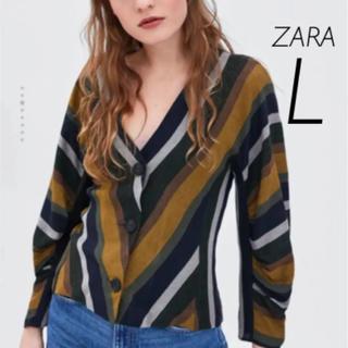 ザラ(ZARA)の【新品・未使用】ZARA ストライプ トップス L(シャツ/ブラウス(長袖/七分))