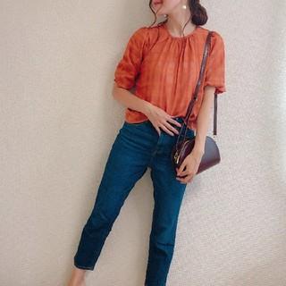 ジーユー(GU)のGU シアーチェックブラウス オレンジ(シャツ/ブラウス(半袖/袖なし))