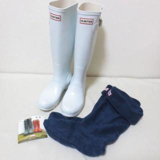 ハンター(HUNTER)の専用 H879 ハンター ホワイト レインブーツ 長靴 ソックス付(レインブーツ/長靴)
