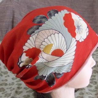57 錦紗縮緬  椿 薔薇 梅 桜?意匠キャ ップ 室内帽子 難隠し 帽子(その他)