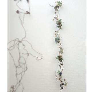 アンティーク紫陽花とユーカリのガーランド(ドライフラワー)