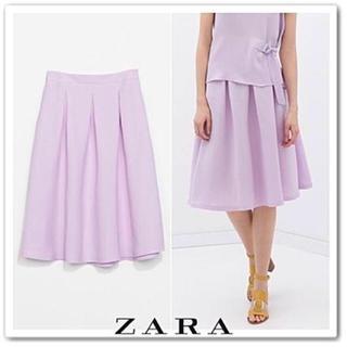 ザラ(ZARA)の美品 ZARA リネン ラベンダースカート(ひざ丈スカート)
