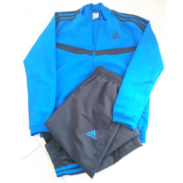 adidas(アディダス)の《adidas》150 M ジャージ上下セット ブルー  裏メッシュ スポーツ/アウトドアのサッカー/フットサル(ウェア)の商品写真