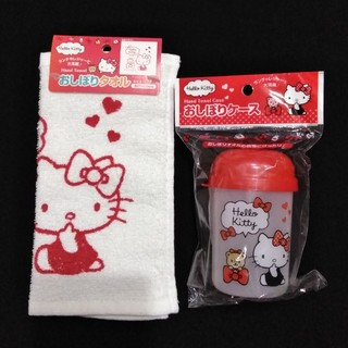 ハローキティ(ハローキティ)の【新品】HELLO KITTY おしぼりタオル&ケース(その他)